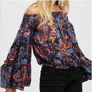 Free People Off the shoulder Bell sleeve Boho Top